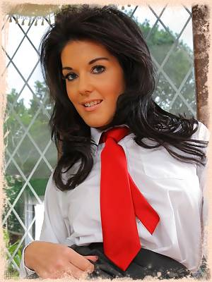 Kelly M looks amazing in her cute college uniform