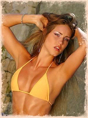 Beautiful Jordan in her tiny yellow bikini