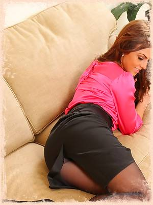 Kerri amazing busty secretary in black tights