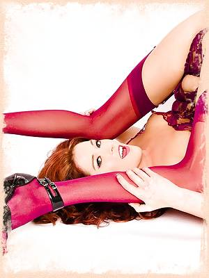 Trisha Rey redhead in maroon lingerie and stockings